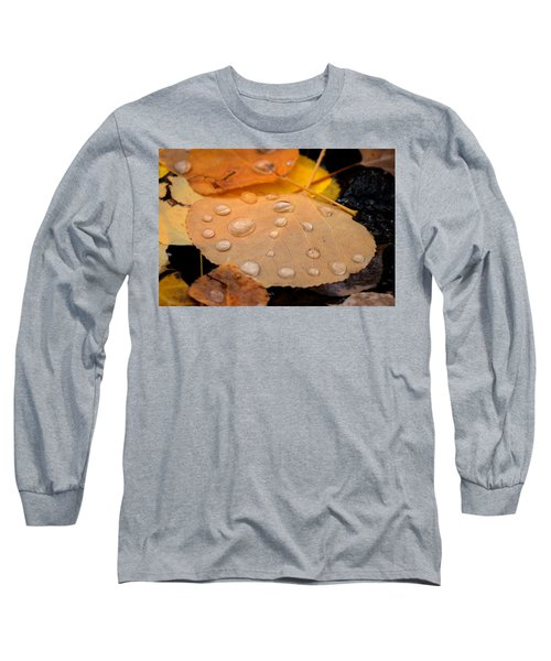 Aspen Leaf With Water Drops Long Sleeve T-Shirt