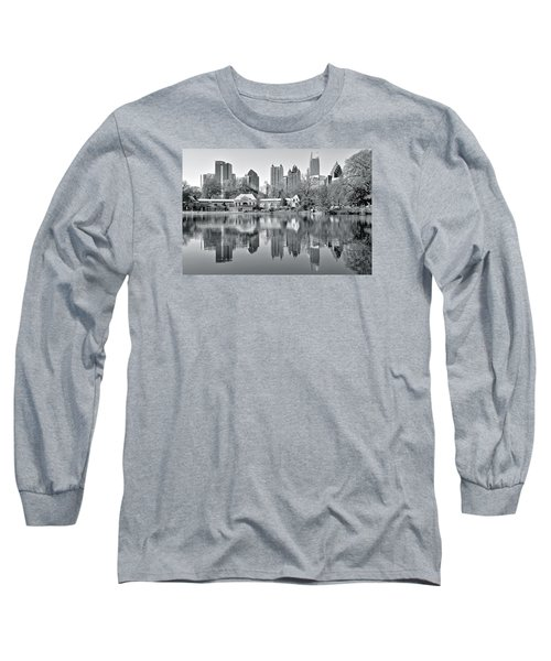 Atlanta Reflecting In Black And White Long Sleeve T-Shirt by Frozen in Time Fine Art Photography