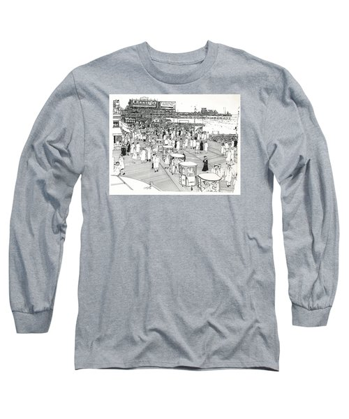 Long Sleeve T-Shirt featuring the drawing Atlantic City Boardwalk 1940 by Ira Shander