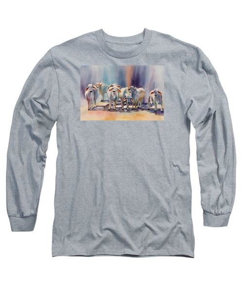 Long Sleeve T-Shirt featuring the painting Attention All Ears.  Brahman Bulls by Roxanne Tobaison