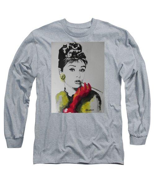 Audrey Hepburn Long Sleeve T-Shirt by Chrisann Ellis
