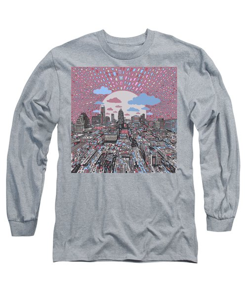 Austin Texas Abstract Panorama 3 Long Sleeve T-Shirt by Bekim Art