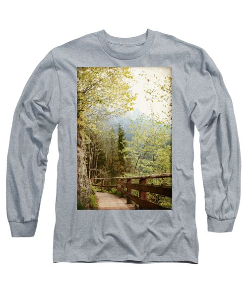 Long Sleeve T-Shirt featuring the photograph Austrian Woodland Trail And Mountain View by Brooke T Ryan