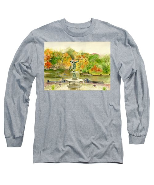 Autumn At Central Park Ny Long Sleeve T-Shirt by Melly Terpening