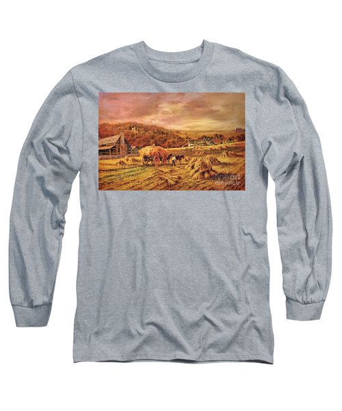 Autumn Folk Art - Haying Time Long Sleeve T-Shirt