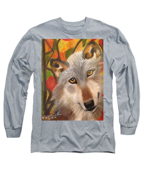 Autumn Wolf Long Sleeve T-Shirt by Renee Michelle Wenker
