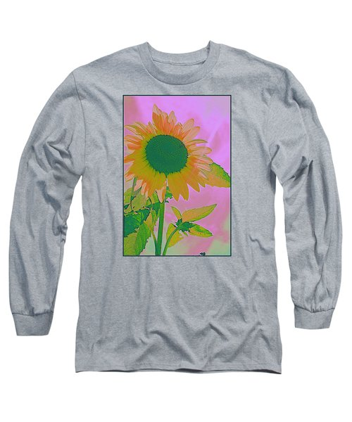 Autumn's Sunflower Pop Art Long Sleeve T-Shirt by Dora Sofia Caputo Photographic Art and Design