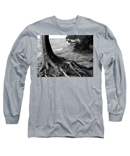 B And W Cedar Roots At Cave Point Long Sleeve T-Shirt