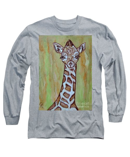 Long Sleeve T-Shirt featuring the painting Baby Longneck Giraffe by Ella Kaye Dickey