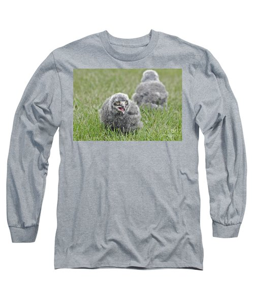 Long Sleeve T-Shirt featuring the photograph Baby Snowy Owls by JT Lewis