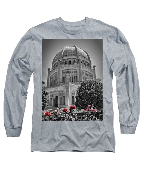 Bahai Temple Wilmette In Black And White Long Sleeve T-Shirt