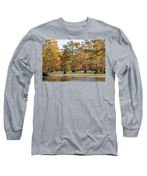 Bald Cypress Trees In Swamp, Horseshoe Long Sleeve T-Shirt