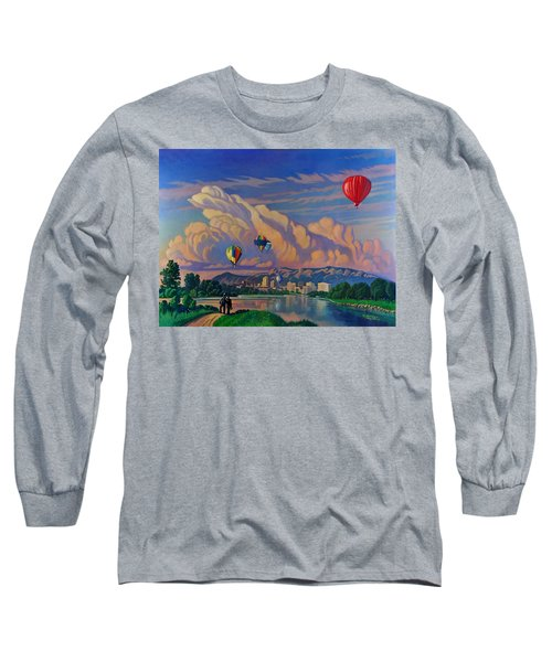 Ballooning On The Rio Grande Long Sleeve T-Shirt by Art James West