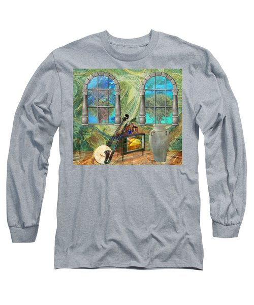Long Sleeve T-Shirt featuring the mixed media Banjo Room by Ally  White