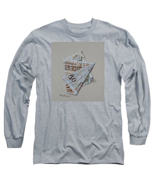 Bank Of Ireland Ten Pound Banknote Long Sleeve T-Shirt by Barry Williamson