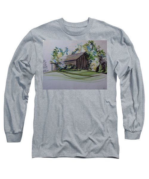 Old Barn At Wason Pond Long Sleeve T-Shirt by Sean Connolly