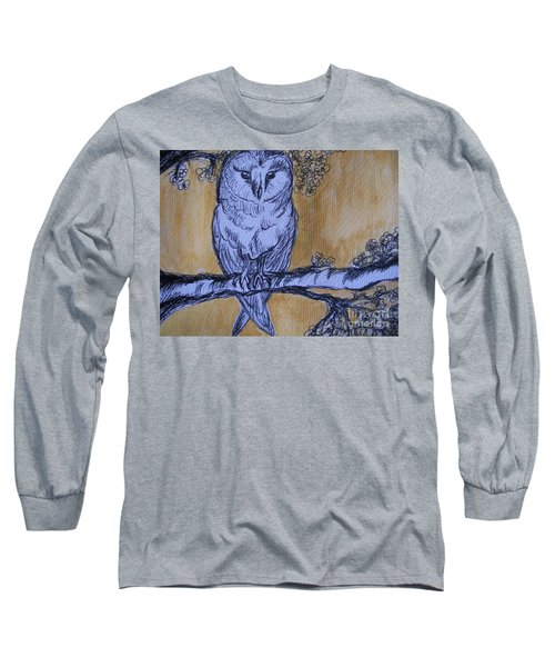 Long Sleeve T-Shirt featuring the painting Barn Owl by Teresa White
