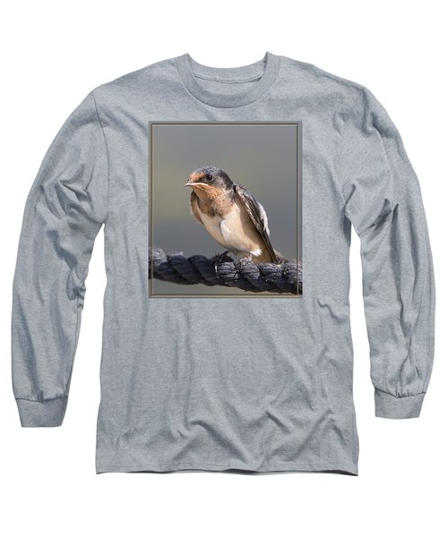 Barn Swallow On Rope I Long Sleeve T-Shirt by Patti Deters