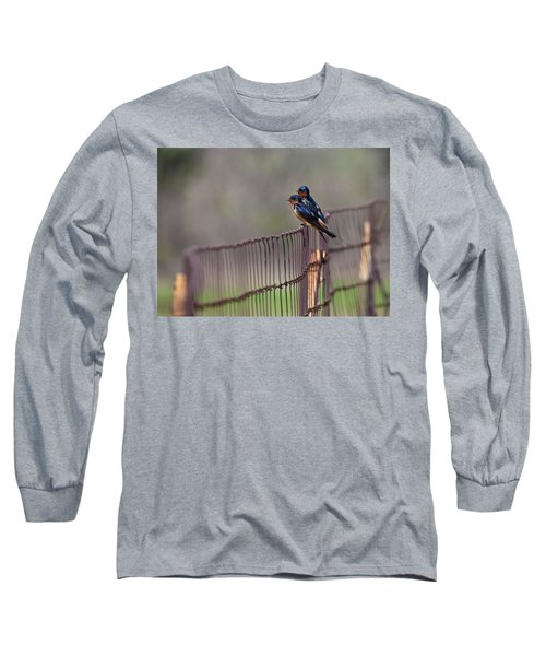 Barn Swallows On The Fence Long Sleeve T-Shirt by Mark Alder