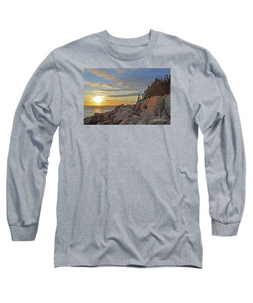 Long Sleeve T-Shirt featuring the photograph Bass Harbor Lighthouse Sunset Landscape by Glenn Gordon