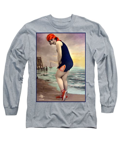 Bathing Beauty In Orange And Navy Bathing Suit Long Sleeve T-Shirt
