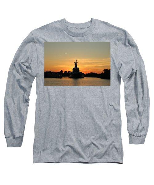 Long Sleeve T-Shirt featuring the photograph Battleship At Sunset by Cynthia Guinn