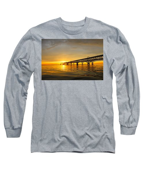 Long Sleeve T-Shirt featuring the photograph Bay Bridge Sunset Glow by Jennifer Casey