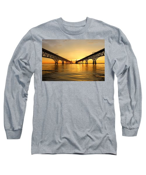 Long Sleeve T-Shirt featuring the photograph Bay Bridge Sunset by Jennifer Casey