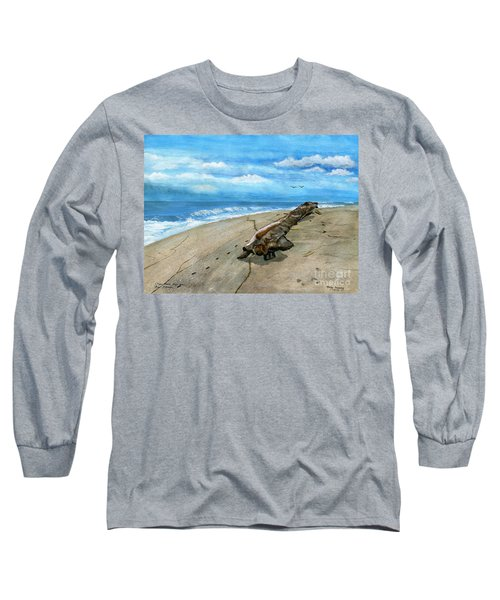 Long Sleeve T-Shirt featuring the painting Beach Drift Wood by Melly Terpening
