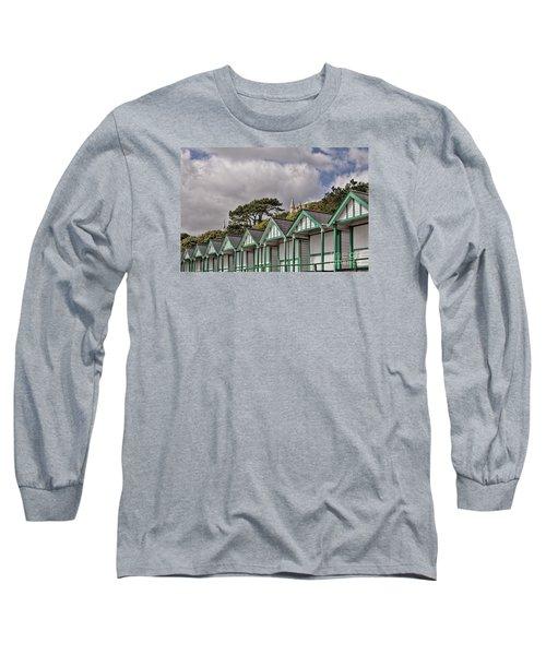 Beach Huts Langland Bay Swansea 3 Long Sleeve T-Shirt by Steve Purnell