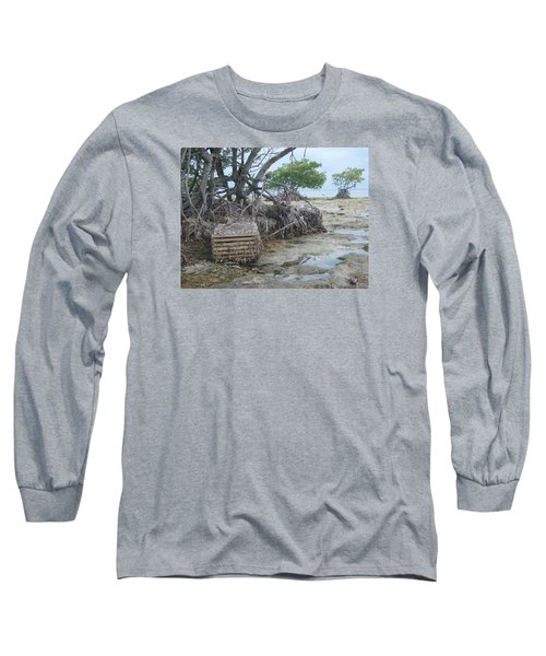 Long Sleeve T-Shirt featuring the photograph Beached Lobster Trap by Robert Nickologianis