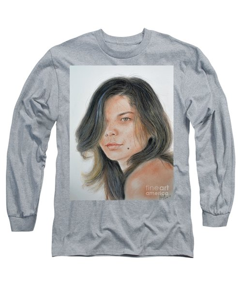 Long Sleeve T-Shirt featuring the drawing Beautiful And Sexy Actress Jeananne Goossen IIi  by Jim Fitzpatrick