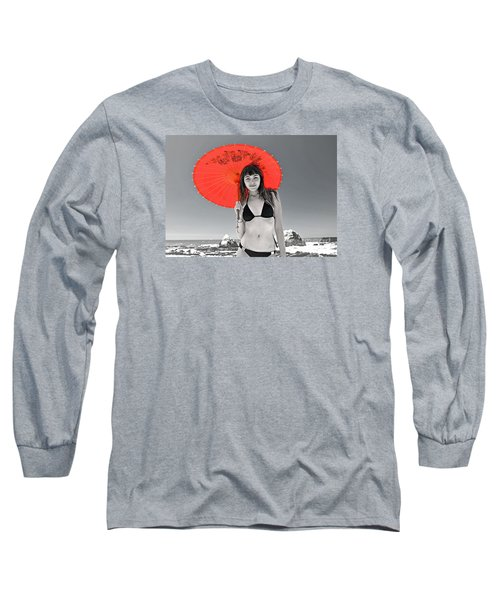 Beautiful Freckle Faced Model  At The Beach Altered Version Long Sleeve T-Shirt by Jim Fitzpatrick
