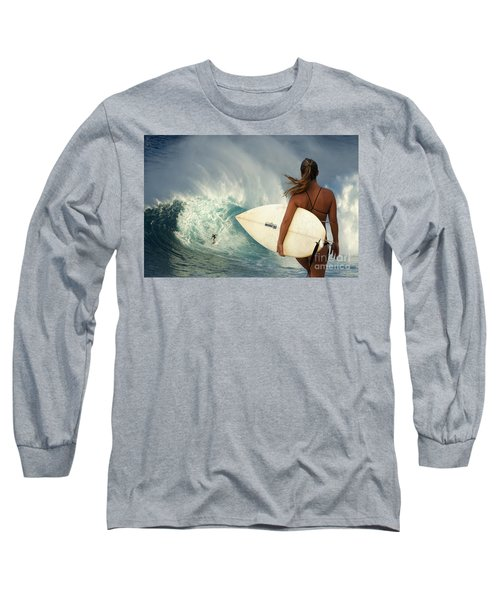 Surfer Girl Meets Jaws Long Sleeve T-Shirt by Bob Christopher