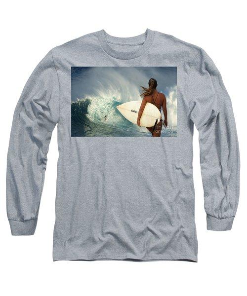 Surfer Girl Meets Jaws Long Sleeve T-Shirt