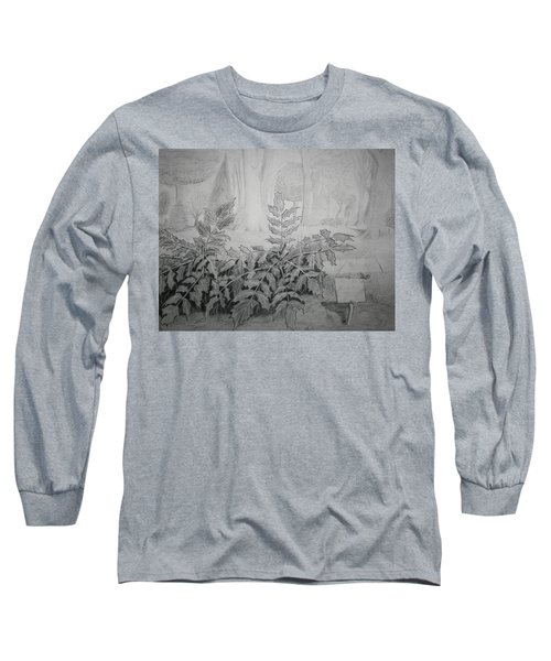 Long Sleeve T-Shirt featuring the drawing Bernheim Forest Plant by Stacy C Bottoms