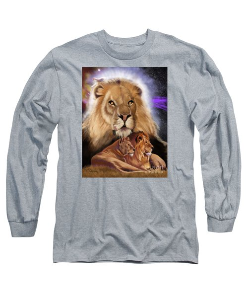 Third In The Big Cat Series - Lion Long Sleeve T-Shirt by Thomas J Herring