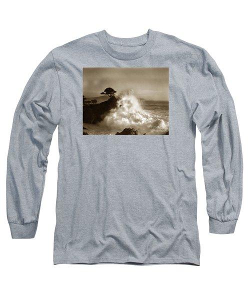Big Wave Hitting The Lone Cypress Tree Pebble Beach California 1916 Long Sleeve T-Shirt by California Views Mr Pat Hathaway Archives
