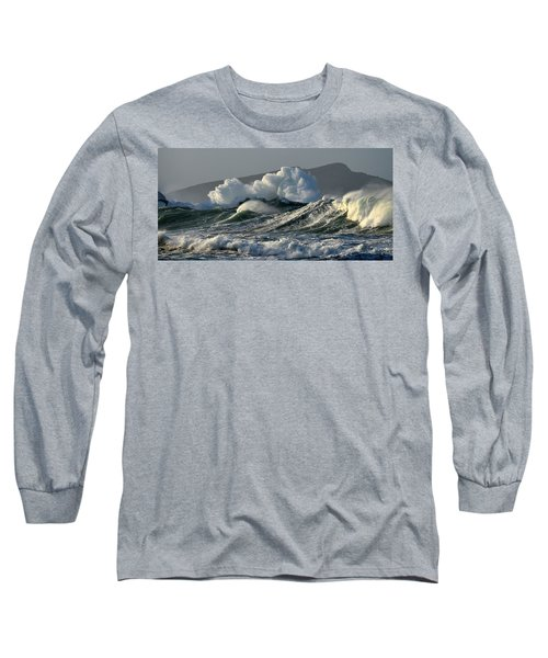 Big Waves At Clogher Beach Long Sleeve T-Shirt by Barbara Walsh