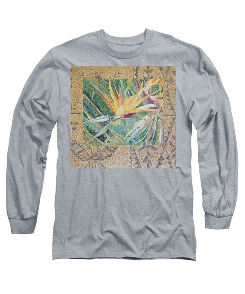 Bird Of Paradise With Tapa Cloth Long Sleeve T-Shirt