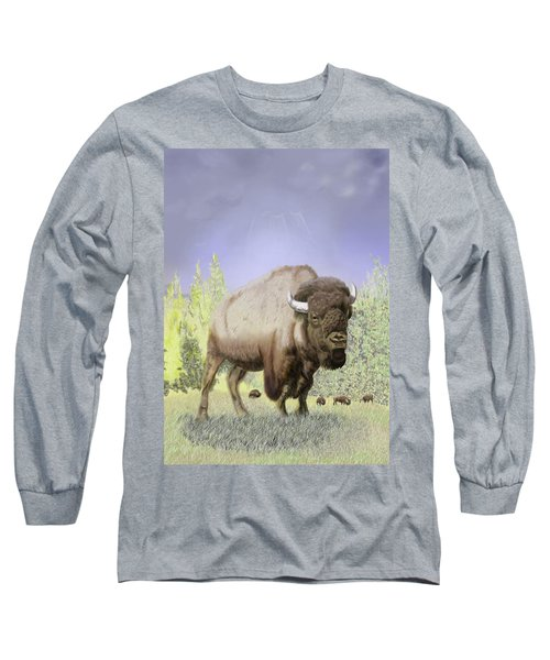 Long Sleeve T-Shirt featuring the digital art Bison On The Range by Thomas J Herring