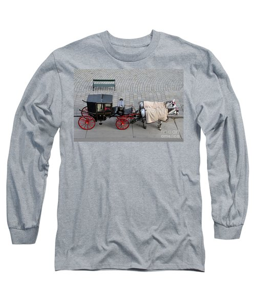 Long Sleeve T-Shirt featuring the photograph Black And Red Horse Carriage - Vienna Austria  by Imran Ahmed
