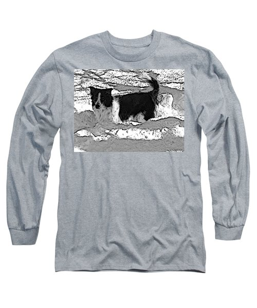 Long Sleeve T-Shirt featuring the photograph Black And White In Snow by Michael Porchik