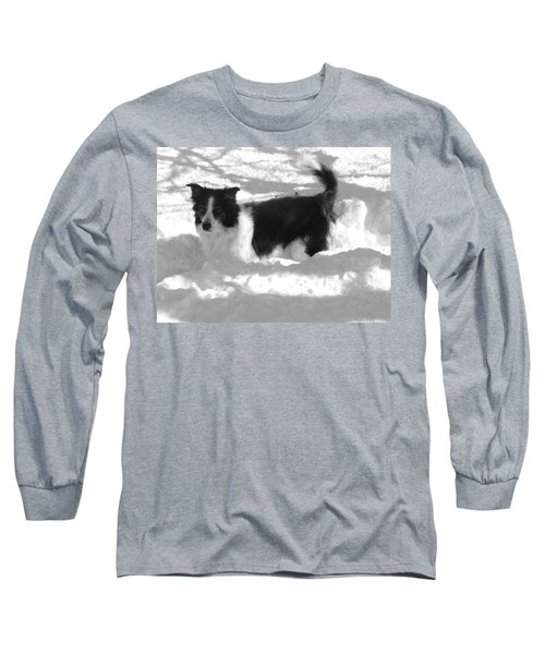 Long Sleeve T-Shirt featuring the photograph Black And White In The Snow by Michael Porchik