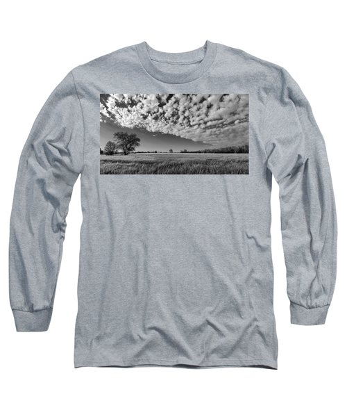 Black And White Wheat Field Long Sleeve T-Shirt