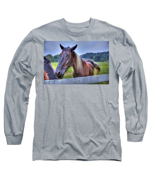 Long Sleeve T-Shirt featuring the photograph Black Horse At A Fence by Jonny D