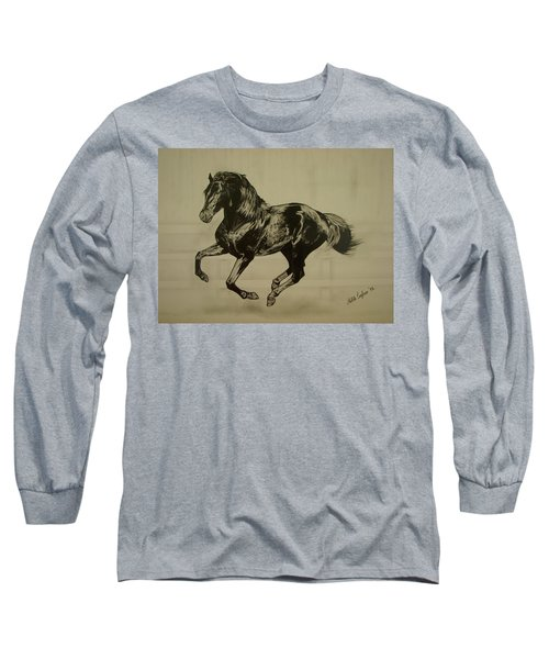 Long Sleeve T-Shirt featuring the drawing Black Stallion by Melita Safran
