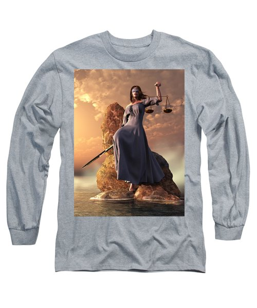 Blind Justice With Scales And Sword Long Sleeve T-Shirt