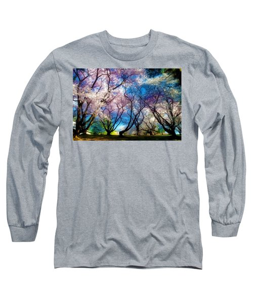 Blossom Cherry Trees Over Spring Sky Long Sleeve T-Shirt by Lanjee Chee