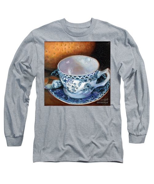 Blue And White Teacup With Spoon Long Sleeve T-Shirt by Marlene Book